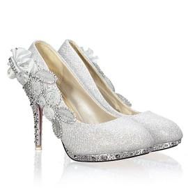 Femme Chaussures Mariage Escarpins Cristal Strass Fleur Talon Haut Plateforme