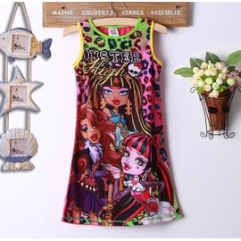 Cartoon Monster High Enfants Filles Party Dress Summer Manches Casual Sundress 4-14y