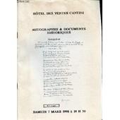 Catalogue De Vente Aux Encheres : Hotel Des Ventes Cantini - Autographes & Documents Historiques. Samedi 7 Mars 1998 A 14h30. de COLLECTIF