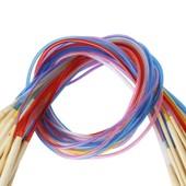 18 Aiguilles � Tricoter De Tailles Diff�rentes De 2.0mm � 10.0mm, Longueur De 80cm En Bambou, Aiguilles Circulaires Pour Tricoter Avec Tube Color�