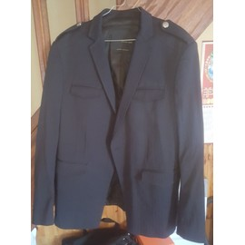 Veste De Costume Zara Polyester 54 Bleu Marine