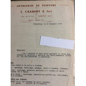 L. Craminy & Fils, Peinture, Charenton : 1 Lettre, 1947