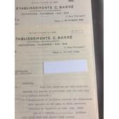 �tablissements C. Barr�, Couverture-Plomberie, Paris : 2 Lettre, 1938