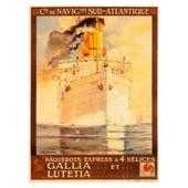 Affiche Navigation Sud Atlantique � 112cm X 152 Cm - Neuve