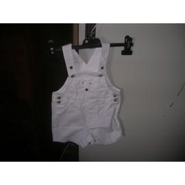 Salopette Short Tex Coton 12 Mois Blanc