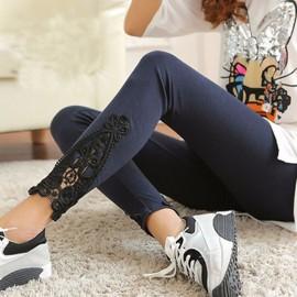 Collant Skinny Leggings Femme Mode Sexy Pantalons Dentelle Coton Stretch Pants
