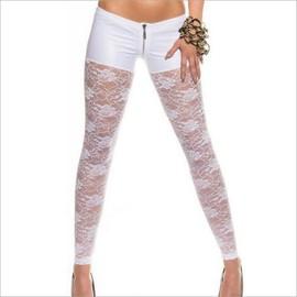Legging Femme Pantalon Wetlook Dentelle Noir Zipp� Top Sexy Fashion T.S/M Ou M/L
