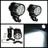 2x Universel 12w Moto Scooter Phare Light Feux Lampe 4 Led + Support 12-85v