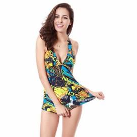 Maillot De Bain Femme Tankini Graffiti Robe+Slip Sexy Col V Vacances Eleyooner
