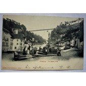 C P A Fribourg ( Suisse ) La Basse Ville Anim�e �crite Circul�e Oblit�r�e ( 1905 )