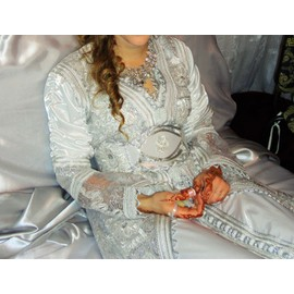 Robe De Mari�e Oriental Caftan Satin Unique Blanc
