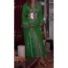 Robe De Mari�e Oriental Caftan Vert Et Argent Satin Unique Vert