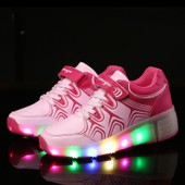 Eleyooner Led Heelys Fille Gar�on Sneakers Lumi�res Chaussures � Roulettes Femme Homme Skate Chaussures Antid�rapante Scratch-Semelle Patins � Roulettes Fermeture Par Velcro
