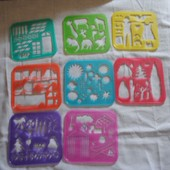 8 Pochoirs Tupperware Tuppertoys Vintage 1991