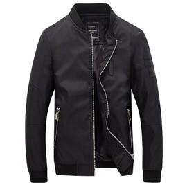 Hommes Veste Pied De Col En Cuir Coutures Solid Color Coat Casual