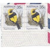 Timbre Australie : Regent Bower Bird, 35c (2 Timbres)