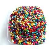 Lot 100 Perles En Bois 4x3mm Multicolore