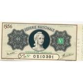 Ancien Billet , Ticket De Loterie 100francs 1936