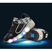 Eleyooner Lumi�res Heelys Propel Enfant Fille Gar�on Led Chaussures � Roulettes Cuir Sneakers D�rapage Chaussures � Lacets Scratch-Semelle