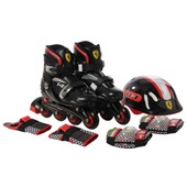 Kids Skate Chaussure Combo Inline Ensemble R�glable Patins Roller Couleur Coquille Dure Patins � Roues Align�es Kids Roller Blading Coude Genou Poignet Protection S�curit� Noir