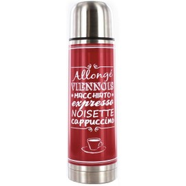 Bouteille Isolante Thermo En Inox 450ml R�tro D�co Bistrot Rouge
