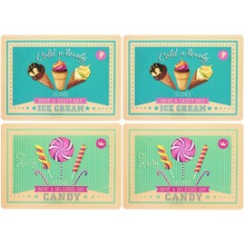 Lot 4 Sets De Table Luxe Sp�cial Pub Vintage Candy Ice Cream Usa