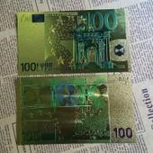 Billet De Collection De 100 Euros En Feuille D'or