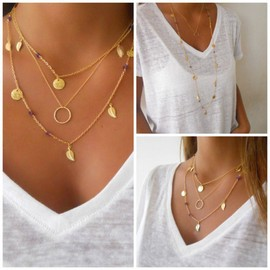 Or Multilayer Feuille Chain Dots Sautoir Chunky Ronde Bijoux Charme