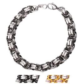 Bracelet Cha�ne-Maille Byzantine-Plaqu� M�tal Noir/Or Jaune-Acier Inoxydable 316l-Haute Qualit�-Gourmette Homme