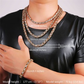 Collier Bracelet Cha�ne-Maille Byzantine-Plaqu� M�tal Noir/Or Jaune-Acier Inoxydable 316l-Haute Qualit�-Gourmette Homme