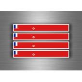 4x Autocollant Sticker Voiture Moto Stripes Drapeau Wallis Futuna