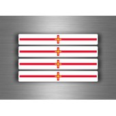 4x Autocollant Sticker Voiture Moto Stripes Drapeau Tuning Guernesey