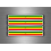 4x Autocollant Sticker Voiture Moto Stripes Drapeau Tuning Ethiopie Lion Rasta