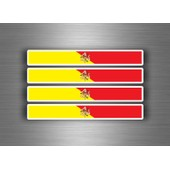 4x Autocollant Sticker Voiture Moto Stripes Drapeau Sicilia Sicile Sicilien