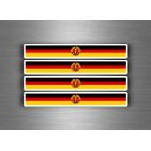4x Autocollant Sticker Voiture Moto Stripes Drapeau Allemagne De L'est Rda Ddr