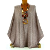 Pull Poncho Cape Strass Pompons Fourrure Hiver Taupe Gaetano Taupe