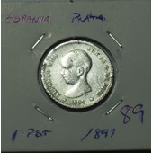 Espagne 1891-1 Peseta-Argent-Rare