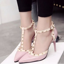 Femmes Pump Rivet Buckle High Heel Sandal Creux Printemps Et� Out Pointu Chaussures Sexy Casual Euro Taille 36-39
