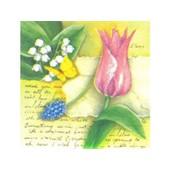 1 Paquette De 20 Serviettes En Papier - Serviette Fleurs : Tulipe De 24x24cm - Serviettage