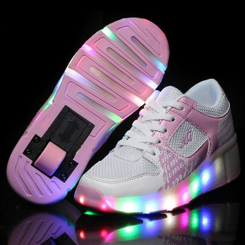 Led heelys propel unisexe <strong>chaussures</strong> A roulettes lumières sneakers <strong>chaussures</strong> A lacets antidérapante <strong>chaussures</strong> de maille scratch semelle eleyooner
