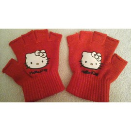 Gants Mitaines Hello Kitty Rouge Taille Unique
