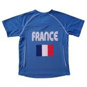 Maillot Football Adulte Supporter �quipe De France - T-Shirt Polyester Col V Jn386 - Bleu Roi