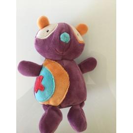 Doudou Panda Ou Ours Bawi Violet ,Prune