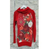 Pull Robe Col Roul� Desigual Turttle Neck Laine Rouge Taille S