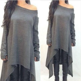 Asym�trique Robe Longues Manches Col Roule Femme Robe Habill� Casual Tunique