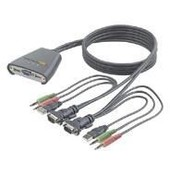 Belkin 2-Port KVM Switch with Audio Support and Built-In Cabling - Commutateur �cran-clavier-souris/audio