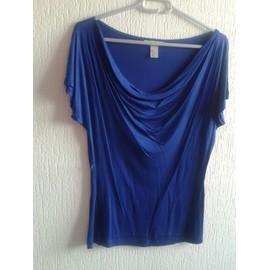 T-Shirt H&m Modal M Bleu Roi