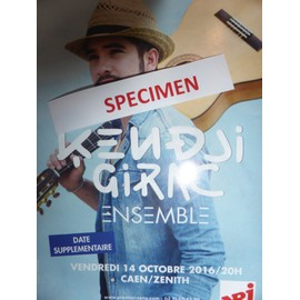KENDJI GIRAK flyer publicité concert Zenith Caen 14/10/2016