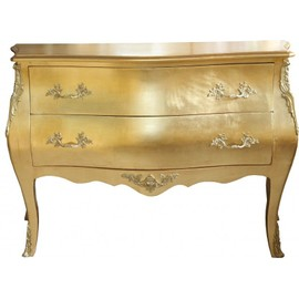 Casa Padrino Baroque Commode gold with 2 drawers 124 cm - Handcrafted from solid wood - Limited Edition