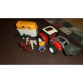Tracteur playmobil et van avec chevaux